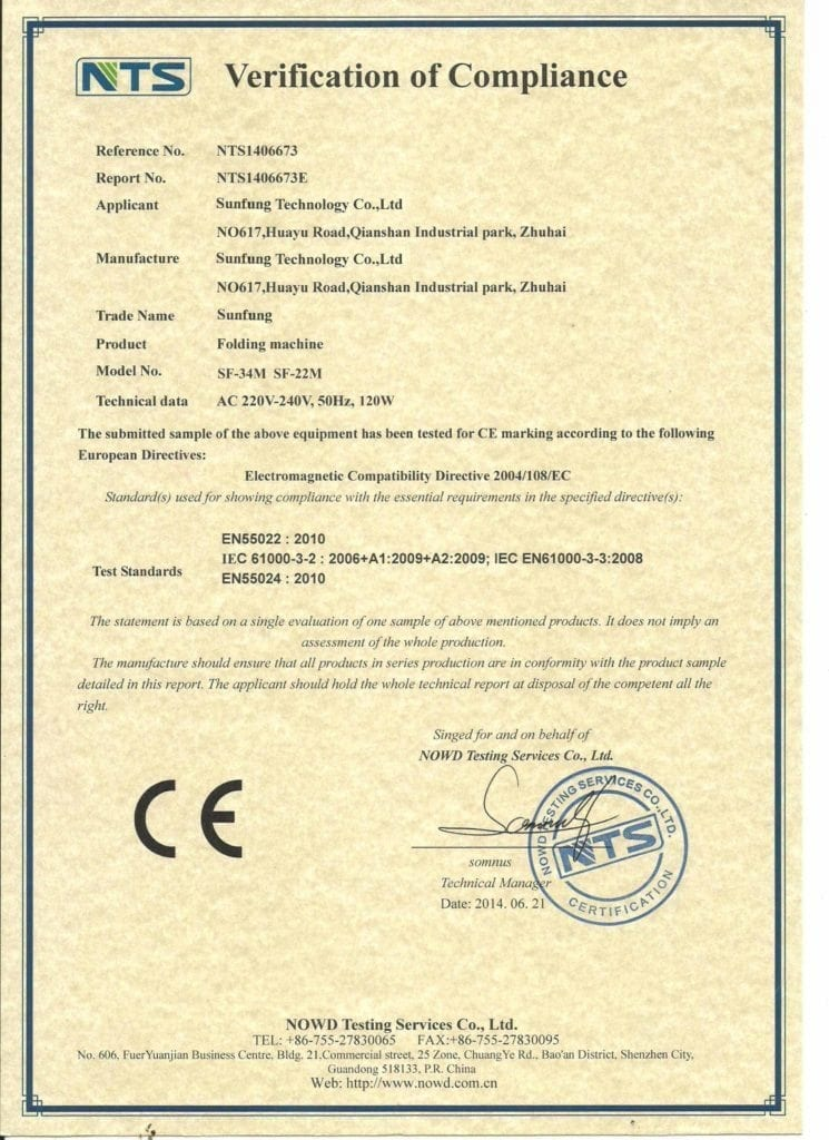 Paper folder CE 3